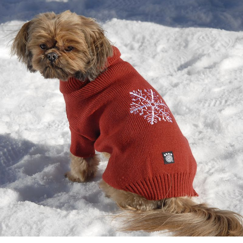 Frostys Snowflake Dog Sweater Large Red