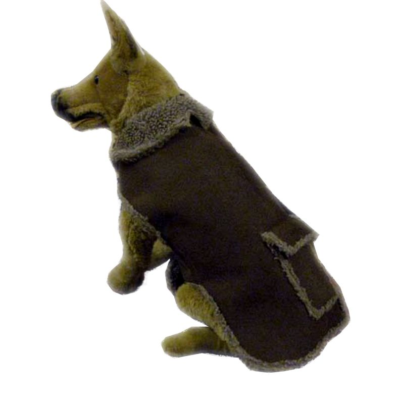 Faux Suede/Berber Dog Jacket XSmall Sage
