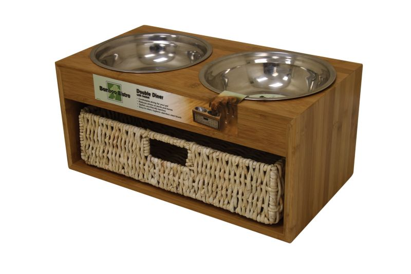 Bamboo Raised Dog Feeder w/ Basket