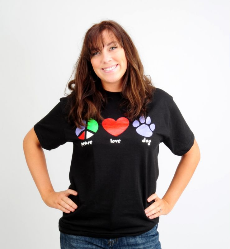 Dog Speak Peace Love Dog Tshirt Small
