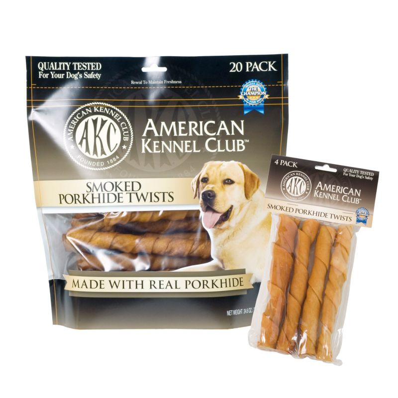AKC Smoked Porkhide Twists Dog Treat 20 Pack