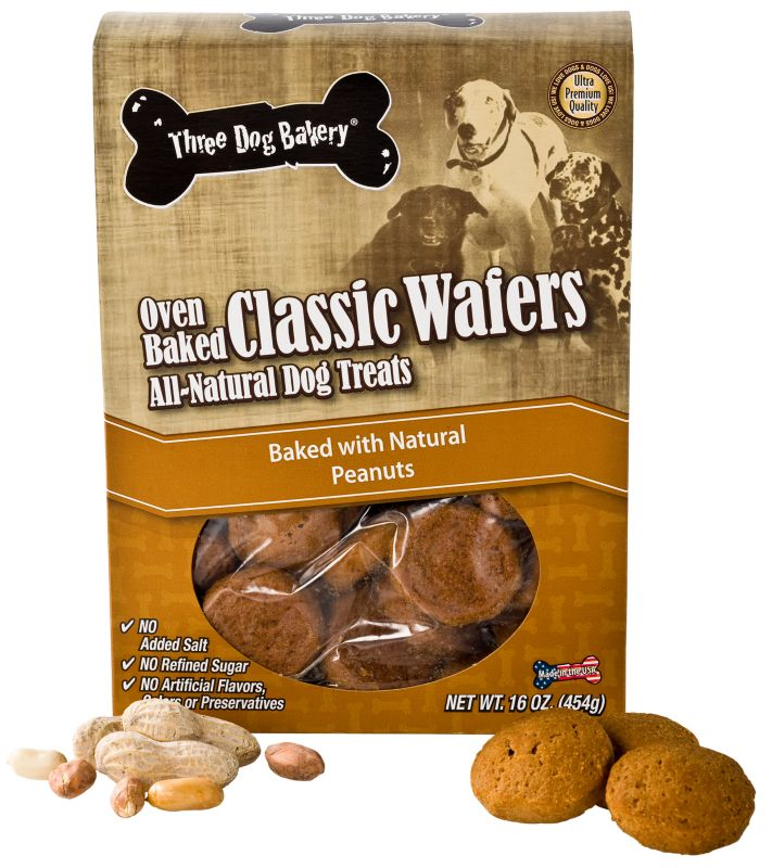 3 Dog Bakery Classic Wafer Dog Treat Carob Chip