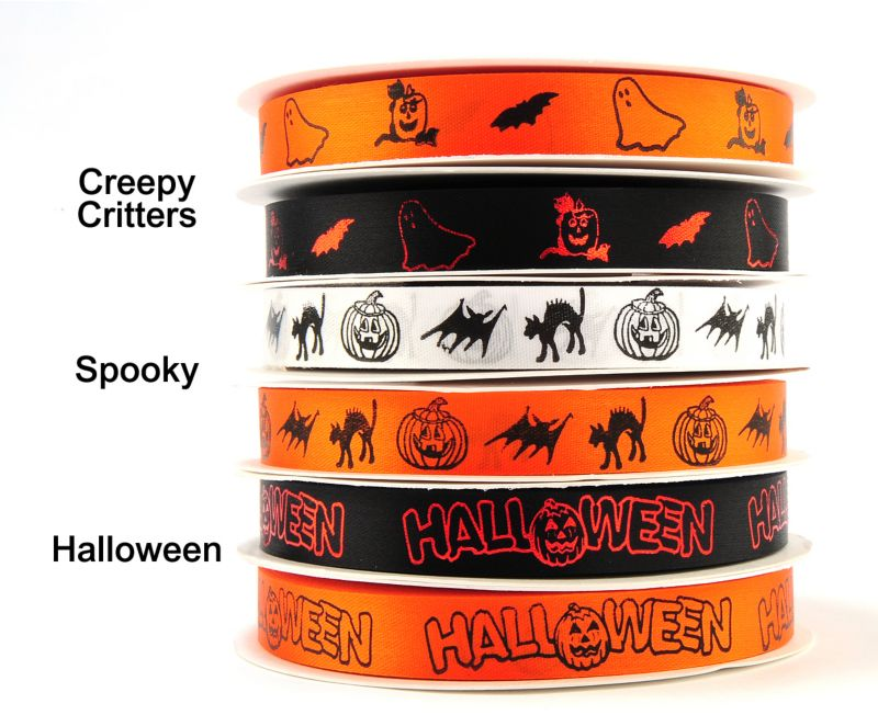 Fancy Finishes Halloween Ribbon Creepy Black