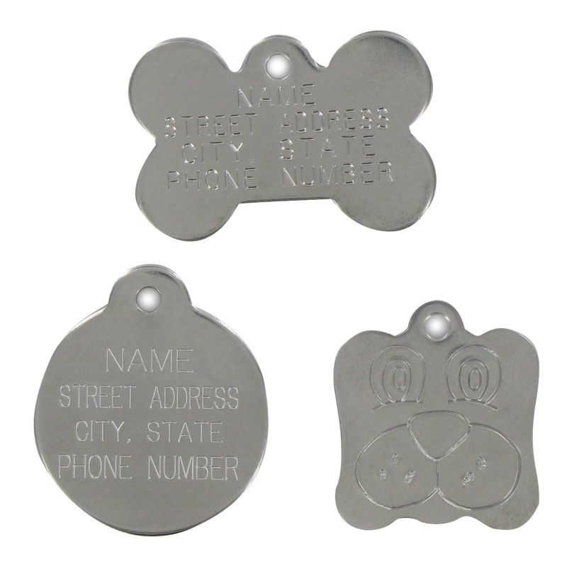 Stainless Steel Pet ID Tag Dog Face
