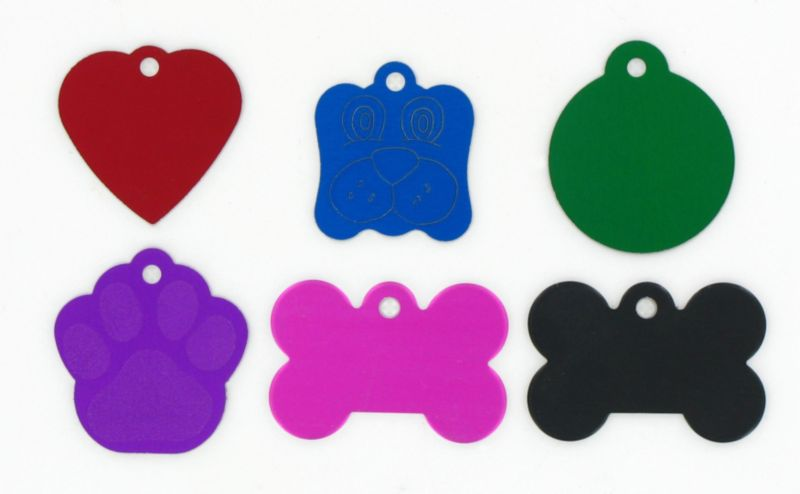 Aluminum Pet ID Tag Paw Print Red