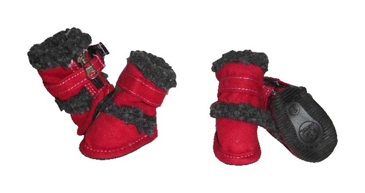 Pet Life Doggz Shearling Dog Boots Small Red