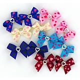 Heart Print Satin Grooming Bows