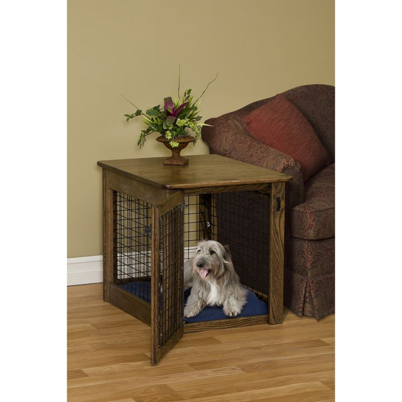 Wood and Wire End Table Dog Crate Large Oak
