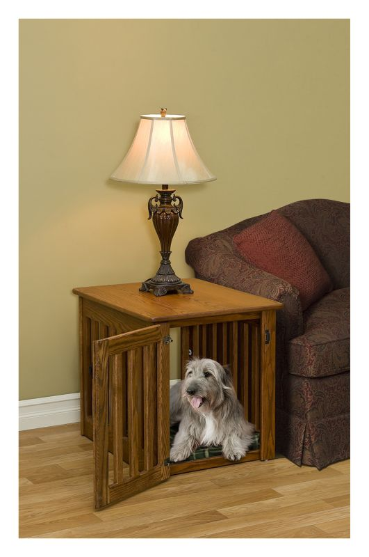 Wooden End Table Dog Crate Large Oak
