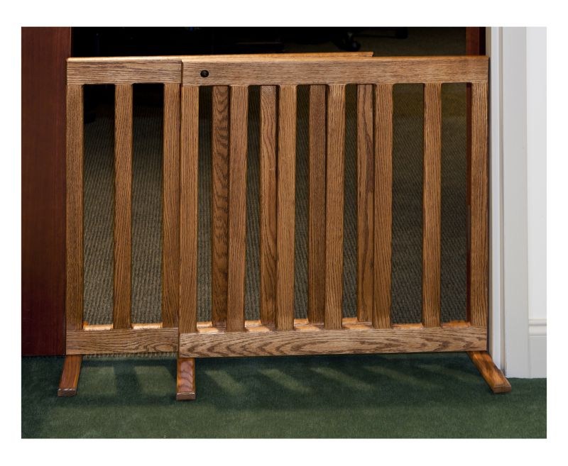 Adjustable Wooden Pet Gate 48 Inch Oak