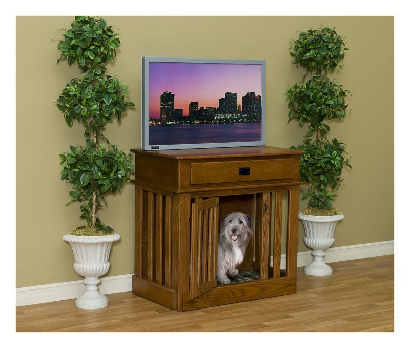 Entertainment Center Dog Crate With Drawer Maple