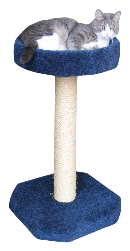 Sisal Cat Scratching Post with Round Bed Grey