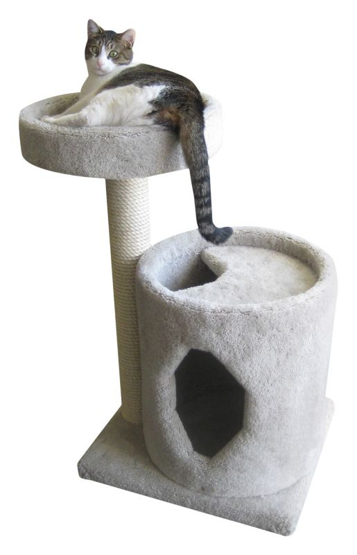 Two Tier Cat Scratching Post and Tunnel Grey
