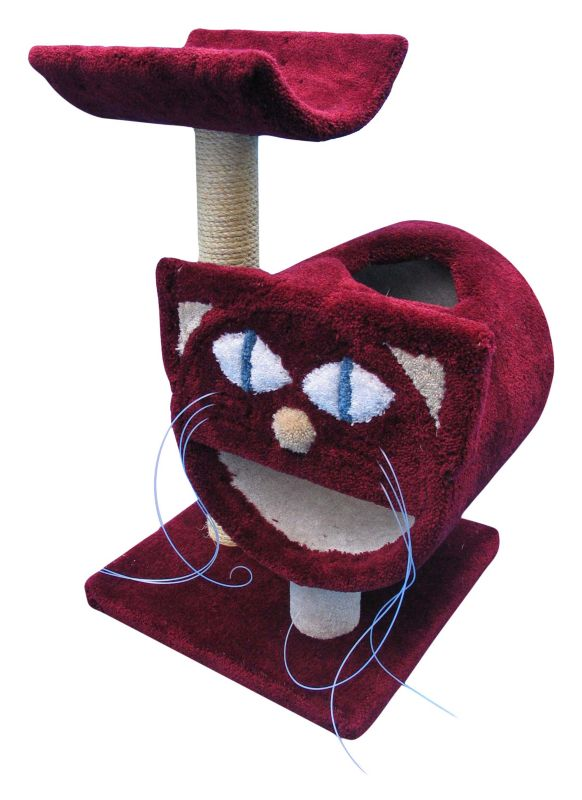 Molly 2 Tier Cat Tunnel w/Scratching Post Burgundy