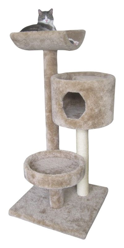Three Tier Cat Tree with Tower Grey