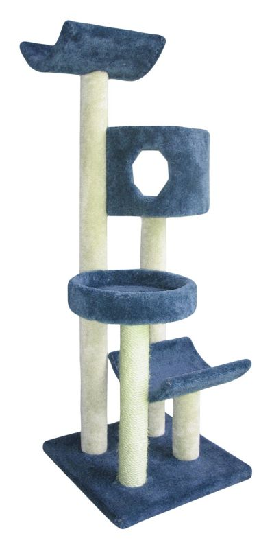4 Tier Sisal and Carpet Cat Tree w/Tower Blue