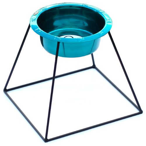 Pyramid Diner Wide Rim Dog Bowl Stand 64oz Blue