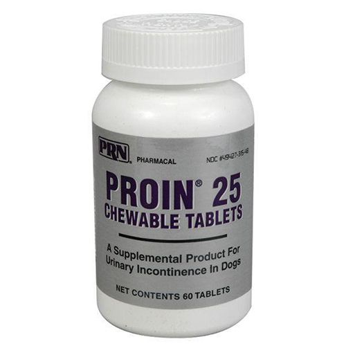 Proin Chewable Tablets This prescription item can not be shipped to Arkansas, Illinois, Iowa, Louisiana, North Carolina, Oregon or West Virginia. ( Phenylpropanolamine HCl) Proin is a medication developed to manage urinary incontinence in dogs. Urinary incontinence, or uncontrolled leaking of urine is most frequently seen in spayed female dogs or dogs with obesity. Although less common, male dogs may also experience urinary incontinence. Proin chewable tabs are administered either as a treat or given with food. Item Specifications: For Use: Dogs Dosage: Use as Directed by your Veterinarian How it works: Proin contains the active ingredient phenylpropanolamine, an adrenergic agent that works by tightening the bladder sphincter muscle, which helps to control urine leakage. Storage: Store at Controlled Room Temperature. Caution: Don't give Proin with ephedrine or epinephrine, and don't give it within two weeks of using a MAOi, such as Anipryl, selegiline or a Preventic Collar. Possible s