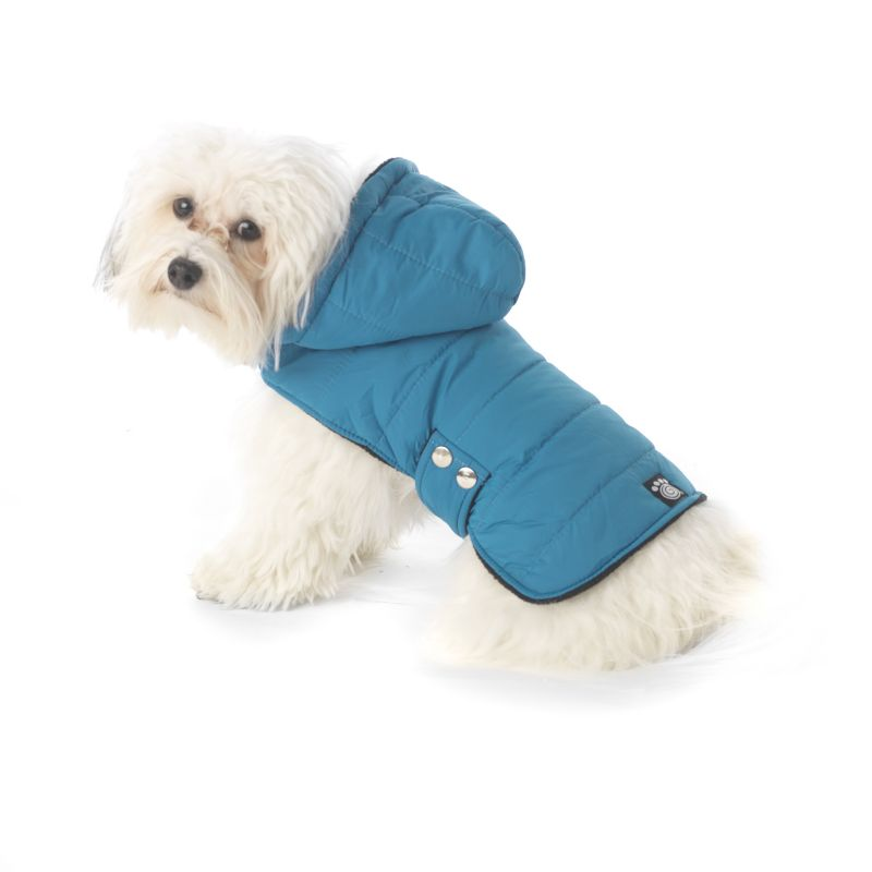 Alberta Quilted Parka Dog Coat Large Teal