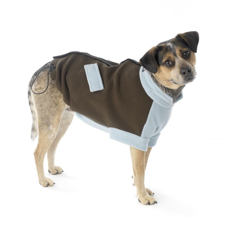 Attitash Fleece Dog Coat Medium Brown/Lt Blue Best Price