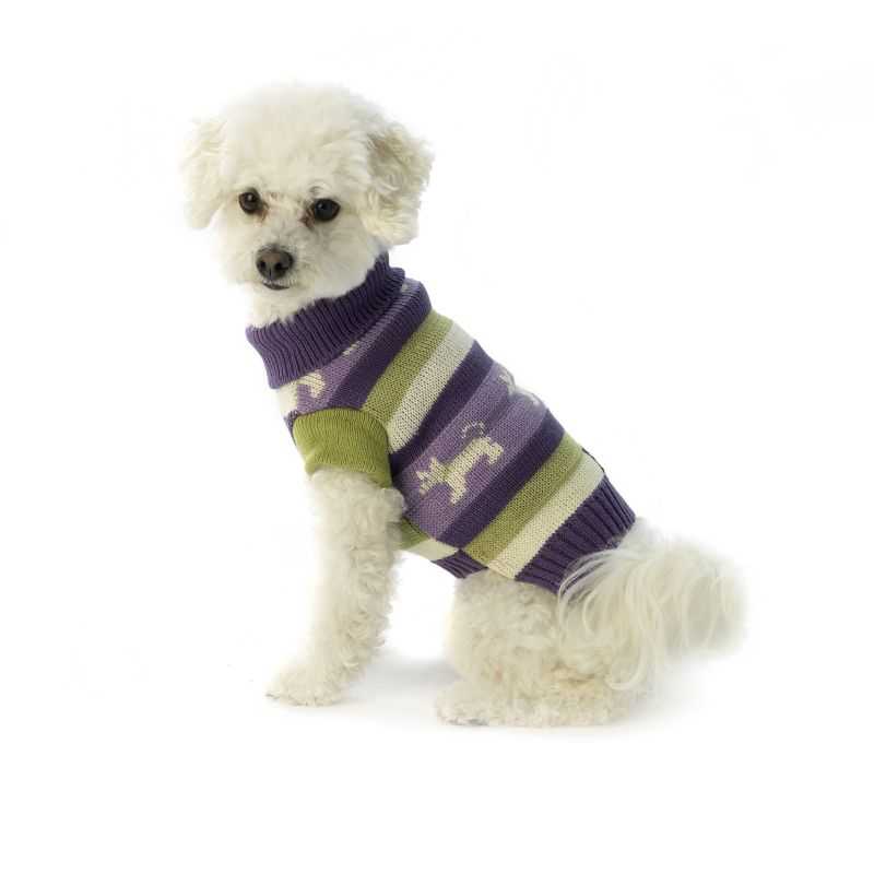 Fritzys Fair Isle Dog Sweater Medium Dust Grape
