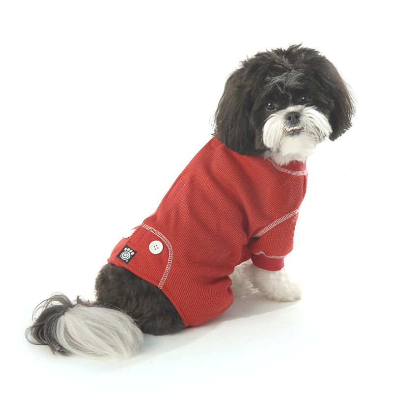 Cozy Thermal Dog Pajamas Medium Red