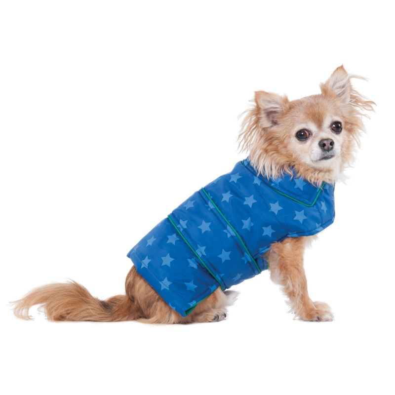 Fashion Pet Blue Star Puffy Blanket Dog Coat MD