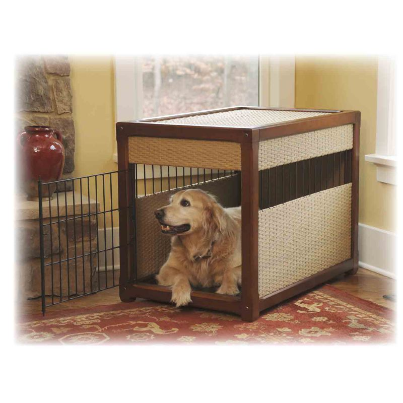 Deluxe Wicker and Wood Dog Crate
