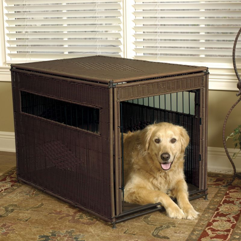 Mr Herzher Wicker Dog Crate Large Dark Brown