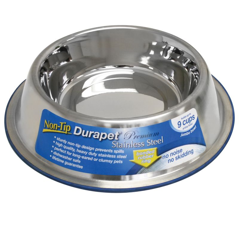 Durapet Non Tip Stainless Steel Pet Bowl 1.75 Pt