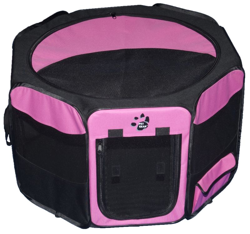 Travel Lite Soft Sided Pet Pen 29in Pink