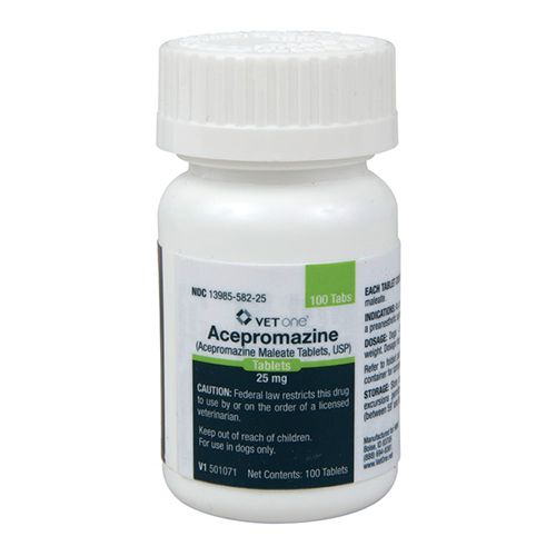 Acepromazine Tablets (ACEPROMAZINE MALEATE tableTSRx) Acepromazine maleate a potent neuroleptic agent with a low order of toxicity is of particular value in the tranquilization of dogs. Its rapid action and lack of hypnotic effect are added advantages. Acepromazine maleate has a depressant effect on the central nervous system and therefore causes sedation muscular relaxation and a reduction in spontaneous activity. It acts rapidly exerting a prompt and pronounced calming effect. It is an effective preanesthetic agent and lowers the dosage requirement of general anesthetics. Item Specifications: For Use: Dogs Manufacturer: AgriLabs INDICATIONS: As an aid in tranquilization and as a pre-anesthetic agent in dogs. Acepromazine Maleate tablets can be used as an aid in controlling intractable animals during examination treatment grooming x-ray and minor surgical procedures. Dosage: Use as Directed by your Veterinarian CAUTION: Federal (U.S.A.) law restricts this drug to use by or on the ord