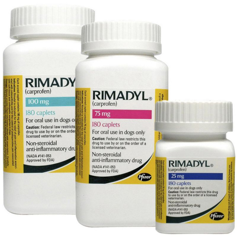 Rimadyl Caplets Rimadyl is a non-steroidal anti-inflammatory drug (NSAID) for treatment of pain and inflammation associated with osteoarthritis in dogs, and control of postoperative pain associated with soft-tissue and orthopedic surgeries in dogs. Rimadyl works by reducing hormones that cause pain and inflammation in your dog's body. Benefits: Rimadyl is used in dogs for the relief of pain and inflammation associated with osteoarthritis, as well as the control of post-operative pain associated with soft tissue and orthopedic surgeries. For use: Dogs at least 6 weeks old Active ingredient(s): carprofen Cautions: Rimadyl should not be used in dogs exhibiting previous hypersensitivity to carprofen. Do not use on cats. Rimadyl is not recommended for use in dogs with bleeding disorders (e.g., Von Willebrand's disease), as safety has not been established in dogs with these disorders. The safety of this medication has not been evaluated in pregnant, breeding, or nursing animals. Allergic re