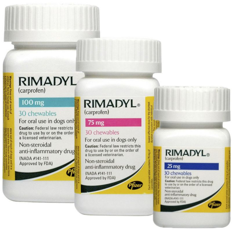Rimadyl Chewables Rimadyl is a non-steroidal anti-inflammatory drug (NSAID) for treatment of pain and inflammation associated with osteoarthritis in dogs, and control of postoperative pain associated with soft-tissue and orthopedic surgeries in dogs. Rimadyl works by reducing hormones that cause pain and inflammation in your dog's body. Rimadyl chewables come in a flavored tablet and readily accepted and consumed on first offering by a majority of dogs. Benefits: Rimadyl is used in dogs for the relief of pain and inflammation associated with osteoarthritis, as well as the control of post-operative pain associated with soft tissue and orthopedic surgeries. For use: Dogs at least 6 weeks old Active ingredient(s): carprofen Cautions: Rimadyl should not be used in dogs exhibiting previous hypersensitivity to carprofen. Do not use on cats. Rimadyl is not recommended for use in dogs with bleeding disorders (e.g., Von Willebrand's disease), as safety has not been established in dogs with the