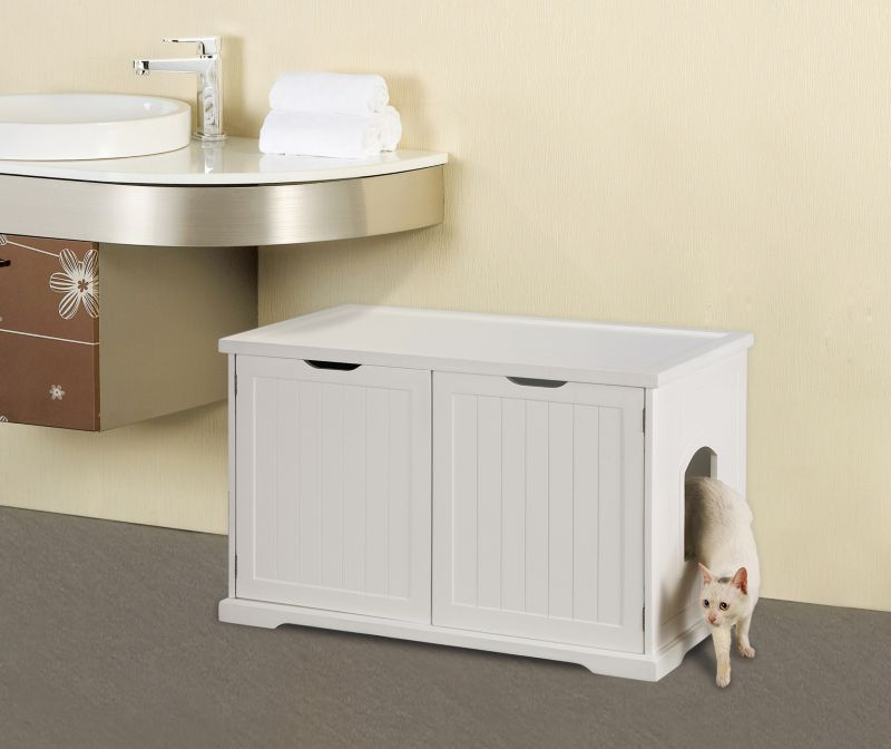 Create Merry Products Mps010 Cat Washroom Bench In White Lowest Price Monyuban