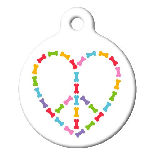 Peace and Love Dog Bones Pet ID Tag Small