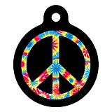 Tie Dye Peace Symbol Pet ID Tag