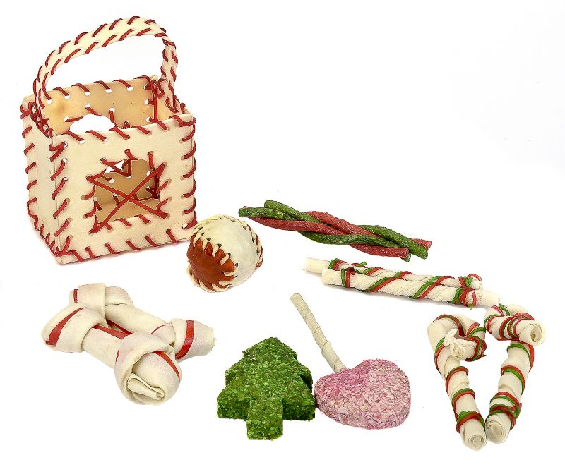 Holiday Rawhide Basket Dog Treat