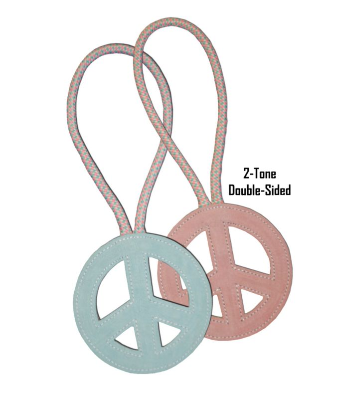 Lucky Pet Peace-Pull Leather-Jute Rope Dog Toy
