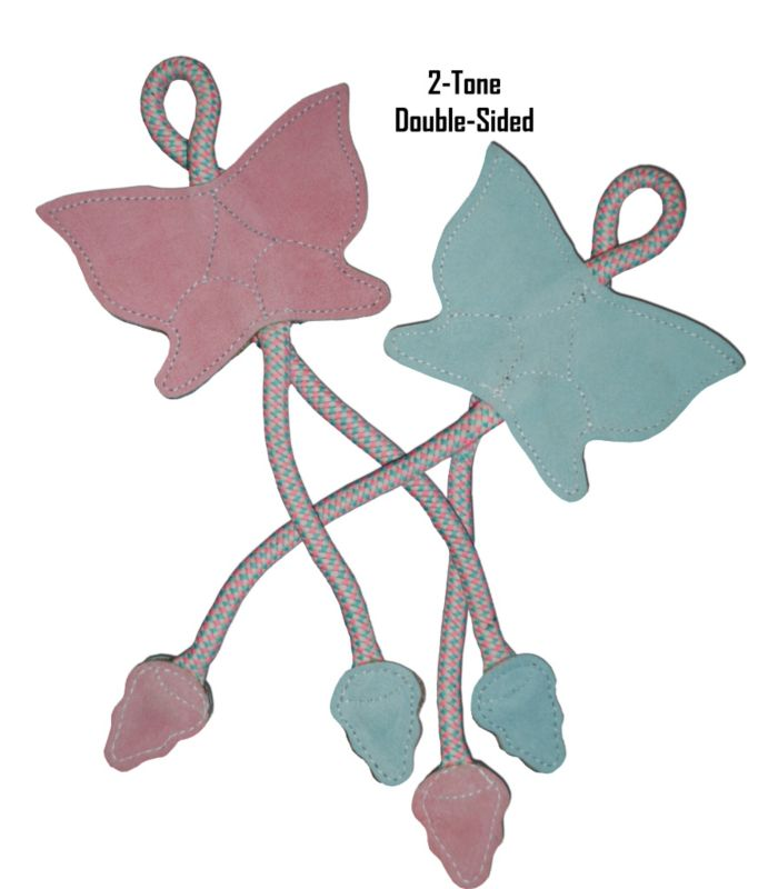 Lucky Pet Butterfly Leather-Jute Rope Dog Toy