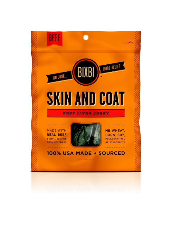 Bixbi Skin and Coat Jerky Dog Treat Beef Liver