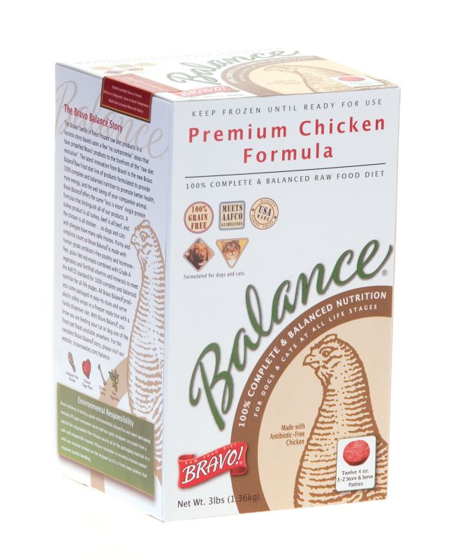Bravo Balance Chicken Patties Frozen Raw Pet Food