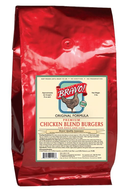 Bravo Blend Chicken Patties Frozen Raw Pet Food