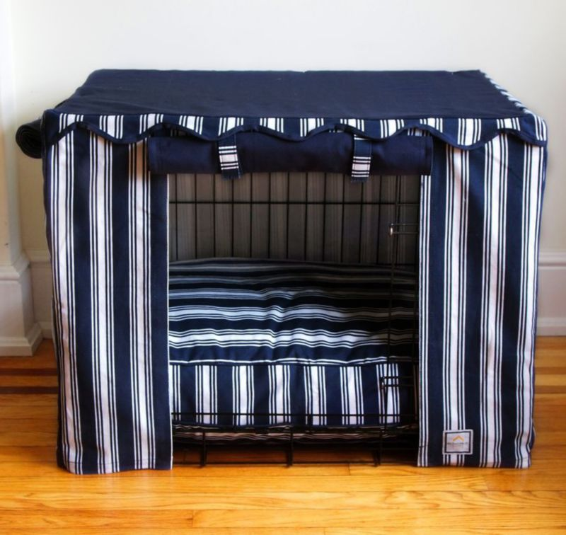 BowhausNYC Nautical Stripe Dog Crate Cover Small