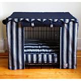 BowhausNYC Nautical Stripe Dog Crate Cover