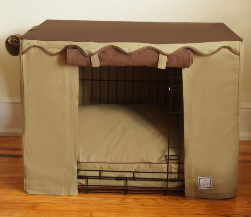 BowhausNYC Camel Brown Dog Crate Cover Medium