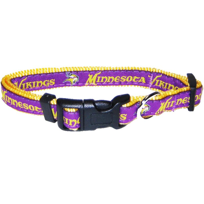 Minnesota Vikings Gold Trim Dog Collar Medium