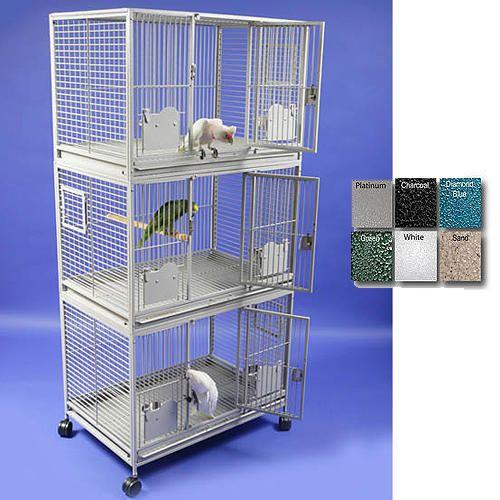 Triple Stack Bird Cage W/Key Locks BWhit