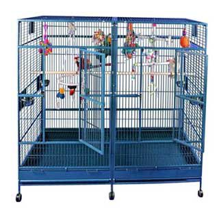 A and E Double Flat Top Macaw Cage Platinum