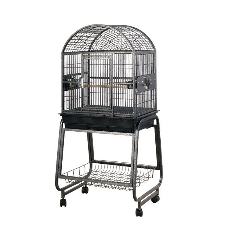 A and E Dometop Bird Cage with Shelf Black